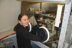 Agnes working in a glovebox