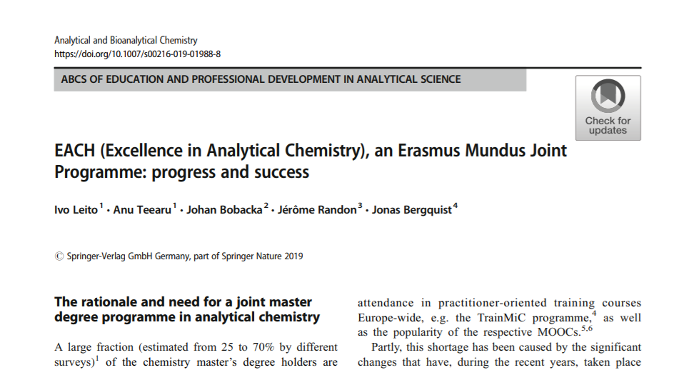 The Chair of Analytical Chemistry at University of Tartu